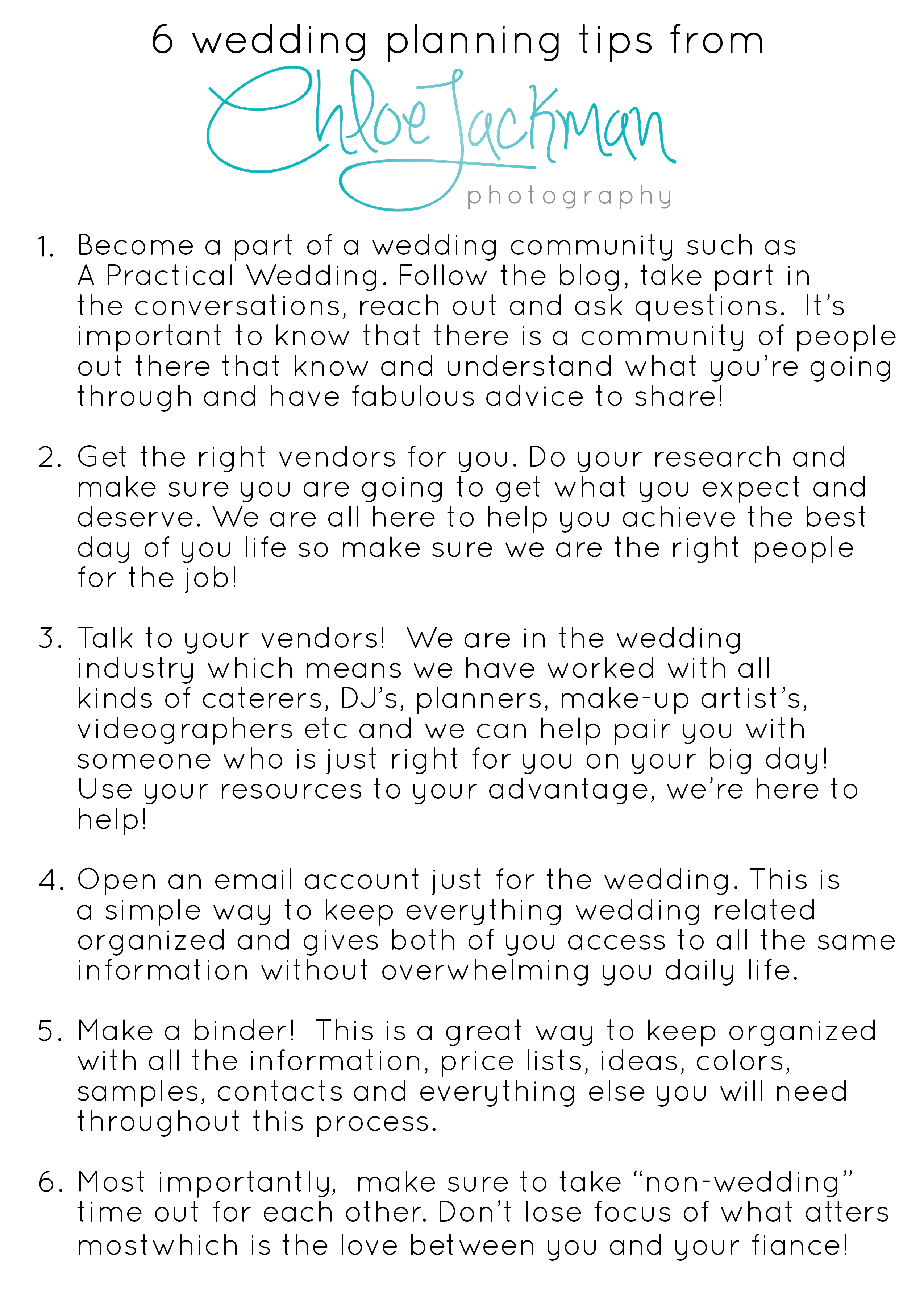 6 tips for planning your wedding Chloe Jackman Photography